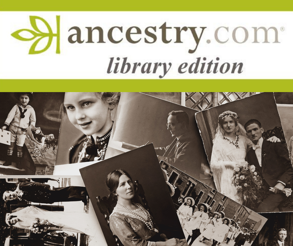 the Ancestry.com Library Edition Logo and text in green with a pile of old black and white photographs