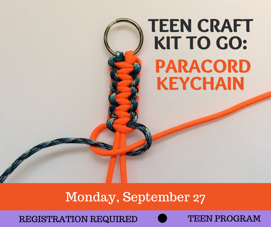 Picture of a partially made knotted keychain with the text