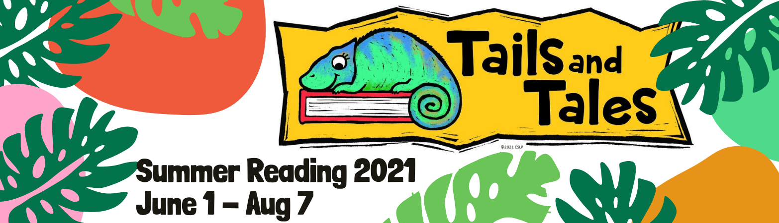 graphic with a cartoon lizard sitting on top of a book surrounded by jungle leaves and color blocks with the text